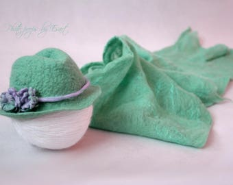 Felted set mint fedora hat and cobweb wrap photography props merino wool art photo prop