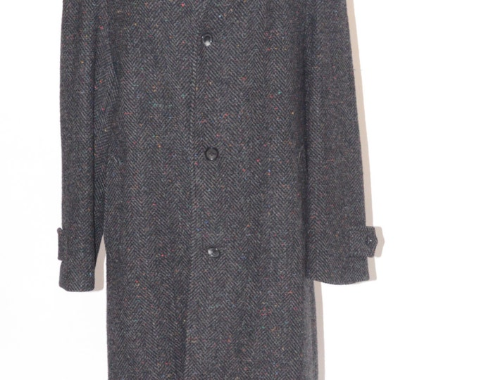 Estate Full Length Britches of Georgetown Clothiers Made in England Black Grey Multi Specs Wool Coat