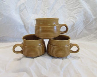 Tea Cups, Coffee Cups, Yellow/Tan, Set of three, Mid Century, England