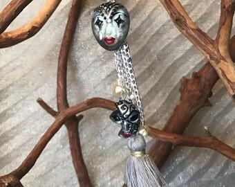 Solo earring, statement earring, mask earring, evening earring, personalized earring, long earring, tassel earring, boho earring,