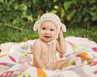 Organic Cotton Lamb Hat, Crochet Hat, Infant Hat, Infant Hat, Newborn Hat, Lamb Hat