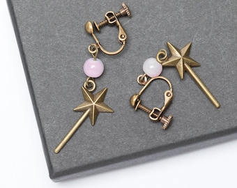 Children's Non-piercing Earrings | Magic Wand Earrings | Fairy Tale Earrings | Non-pierced Ears |