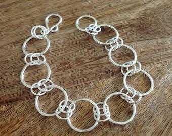 Handmade Sterling Silver Hoop Circle Linked Bracelet, Hoop Bracelet, Linked Bracelet, Silver Bracelet, Circle Link Bracelet