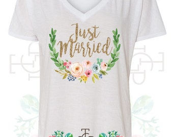 "Boy Meets Girl - ""Just Married"" Custom Glitter Bachelorette T-Shirt Design (B8815)"