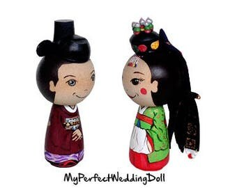 Kokeshi Bride and Groom with Base - Wedding Gift - Unusual - Wooden Peg Dolls - Oriental - Customised Gift - Peg dolls Cake Topper
