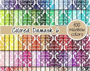 SALE 100 colored damask digital paper rainbow damask pattern elegant digital damask background damask clipart 12x12 pastel neutral bright da