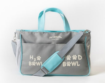 Dog Overnight/Travel Bag holds ALL of your dog's travel supplies. You can personalize too! (Gray/Blue)