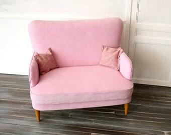 1/4 Scale Pinwale Corduroy Mid-Century Modern Sofa in Pink