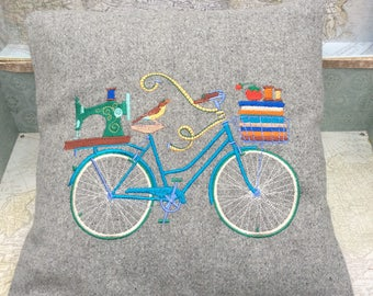 Bike, Bicycle embroidered Pillow, Cushion