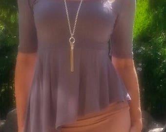 Maya Antonia Grey Asymmetric Ruffle Peplum Top Elbow Sleeves