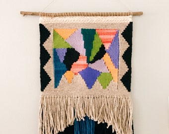 color play / wall hanging weaving talestry with tassels / textile art