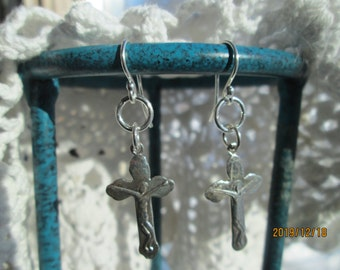Handcrafted Sterling Silver 925 Crucifix Dangle Earrings on French 925 Ear Wires, Weight 4 Grams, 1 3/4 Inches Long