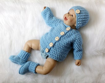 Baby boy coming home outfit - Crochet baby outfit - Baby boy cardigan - Baby boy clothes - Baby boy gift - Ready to ship