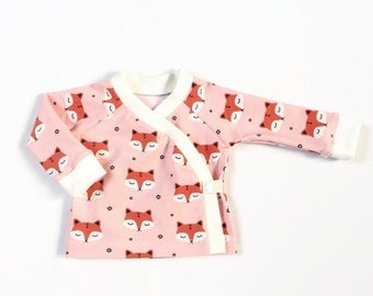 Baby kimono wrap shirt. Toddler longsleeve. Wrap top. Organic foxes cotton.  Longsleeve shirt. Pink with sleepy foxes