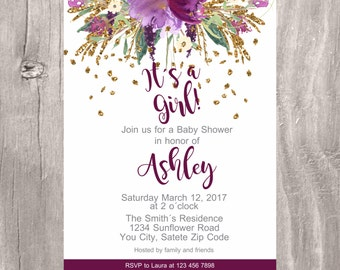 Baby Shower Invite, Purple and Gold Floral Baby Shower Printable Invitation, Its a Girl Baby Shower Purple Flower Invite