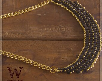 Black and Gold, Statement Necklace, Beaded Necklace, Gold Chain, Collar Necklace, Brick Necklace, Street Style