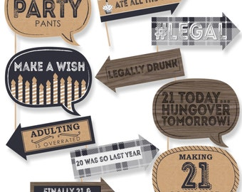 Funny Finally 21 - Birthday Photo Booth Props - Birthday Party Photo Booth Prop Kit - 10 Photo Props & Dowels