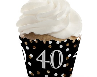 40th Birthday Cupcake Wrappers - Birthday Party Cupcake Decorations - Set of 12 - Adult 40th Birthday - Gold Cupcake Liners