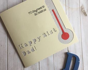 70th birthday card, 70 degrees is 21 celsius, funny 70th birthday card