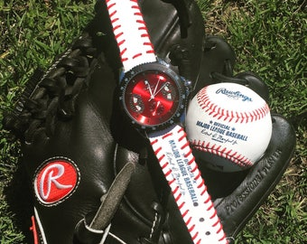 Winner watch face with a strap made from a real Major League Baseball!