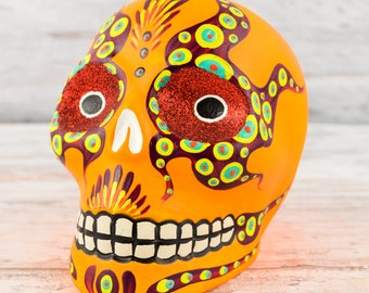 D099 Clay Skull Day of the Death Oaxacan Wood Carving Painting Handcrafted Folk