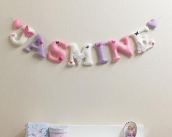 Butterfly name garland, nursery decor, handmade wall hanging, butterflies theme room decor, glitter butterflies, pastel decor, baby shower