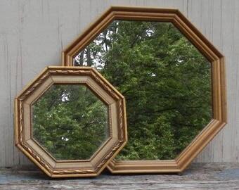 Pair of Retro Octagon Shaped Mirrors!