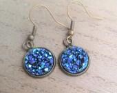 Bronze/Blue Druzy Earrings
