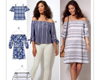 McCall's Sewing Pattern M7543 Misses' Off-the-Shoulder Tops, Tunic and Dress
