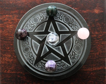 Handmade 6 Inch Granite Pentacle Altar Wheel, Stone, Travel Altar
