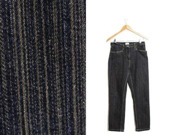 Striped jeans, Striped denim pants, High waist trousers, High waisted trousers, Striped trousers, Denim Womens trousers /  Medium W 29