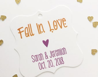 Fall In Love Tags, Fall In Love Wedding Favor Tags, Fall In Love Hang Tags, Autumn Wedding Favor Tags  (FS-013)