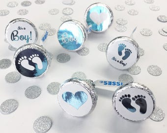 It's a Boy Hershey Kiss Candy Stickers - 100/pk, Color Foil Baby Shower Envelope Seals, Birth Announcements (#408-LB-F)