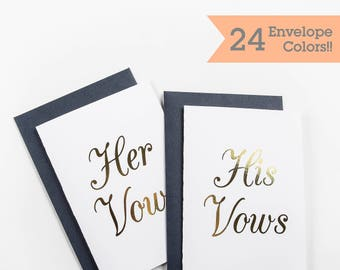 Gold Foil His Vows Her Vows Wedding Cards, Cards to Hold Your Vows, Vow Cards for your Wedding Day (WC000-CL-F-V)
