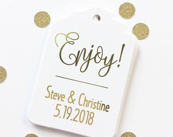 Foiled Enjoy Wedding Favor Tags, Personalized Wedding Tags, Enjoy Tags (ST-200-F)