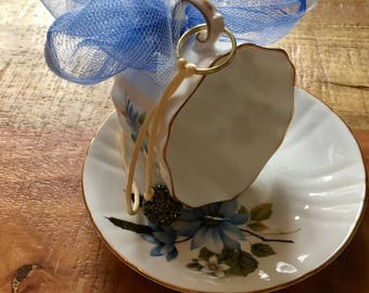 Blue floral - Vintage teacup bird feeder (Royal Grafton)