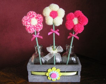 Trio Pom Pom Flower Set (Pink/Yellow Daisy)