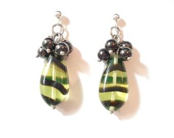 Green Teardrops Lampwork Hematite Dangle Earrings Sterling Silver Stud Earrings Unique Lampwork Teardrops Beads