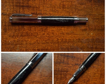 Ready to Ship***** Ancient Bog Oak Fountain Pen made with 4,000 + Year Old Wood and Chome Hardware