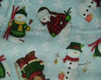 Snowmen and Bears Cotton Fabric sold by the yard