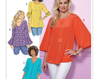 Butterick Pattern B6456 Misses' Tulip or Ruffle Sleeve Tops