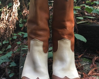 Wingtipped brown and cream Cowgirl Boots size 8 1/2 womens