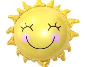 """29"""" Smiling Sunshine sun foil mylar balloon"""