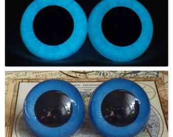 24mm Glow In The Dark Safety Eyes, Metallic Blue Safety Eyes With Blue Glow, 1 Pair Of Hand Painted Plastic Safety Eyes