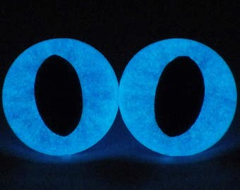 21mm Glow In The Dark Cat Eyes, Metallic Blue Safety Eyes With Blue Glow, 1 Pair of Plastic Safety Eyes