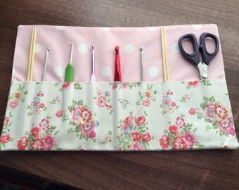 Crochet hook holder made in Cath Kidston Spray flowers fabric
