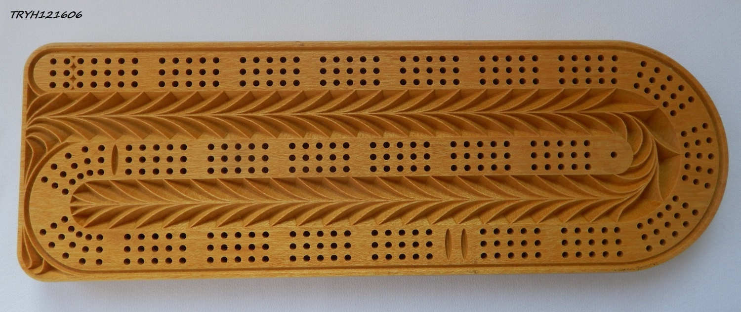 Cribbage board 3 track continuous design is made by for Cribbage board drilling templates