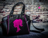 Pink and Black Faux Leather Bag - Custom Listing for Anthony Grace