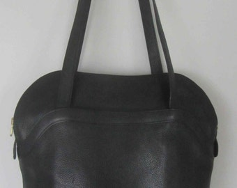 Delvaux Brussels Black leather bag, Shoulder Leather bag/purse, Vintage Belgian Designer bag