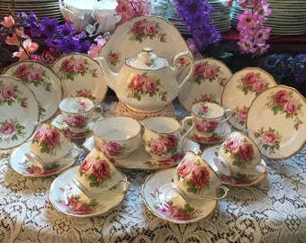 Royal Albert American Beauty tea set for six 24 pieces.